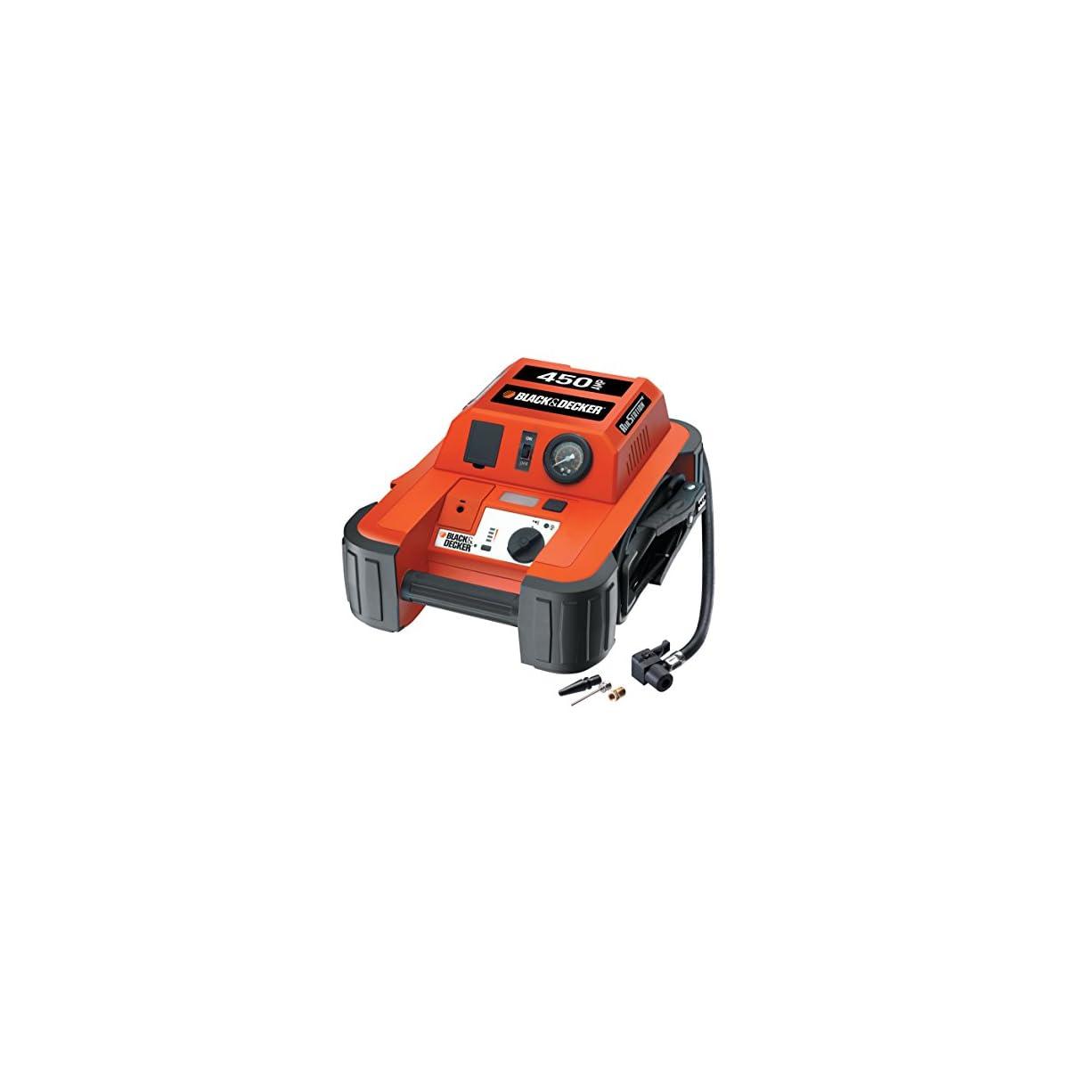 51uo8s6DFhL. SS1200  - Black & Decker BDJS4501 450A Arrancador portátil de baterías con Compressor de 120 PSI, Color Naranja/Negro