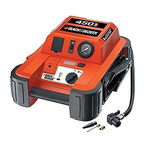 Black & Decker BDJS4501 450A Arrancador portátil de baterías con Compressor de 120 PSI, Color Naranja/Negro