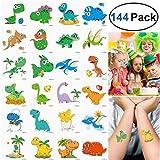 Unomor 144 Stück 2x2zoll Dino Kinder Tattoo Set für Dinosaurier Party Lieferungen, Kinder Geburtstag Party -24 Muster