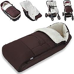 Saco para bebé para cochecito, silla de coche o asiento de bebé color marrón - 93 x 56 cm - material: poliéster 100 %