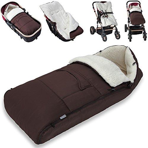 Monzana® Babyfußsack Baby Fußsack Winterfußsack Babyschale Kuschelsack Babydecke Kinderwagen ✔waschbar ✔wasserabweisend ✔verschließbarer Kopfteil ✔braun (Baby Kinderwagen Schlafen)