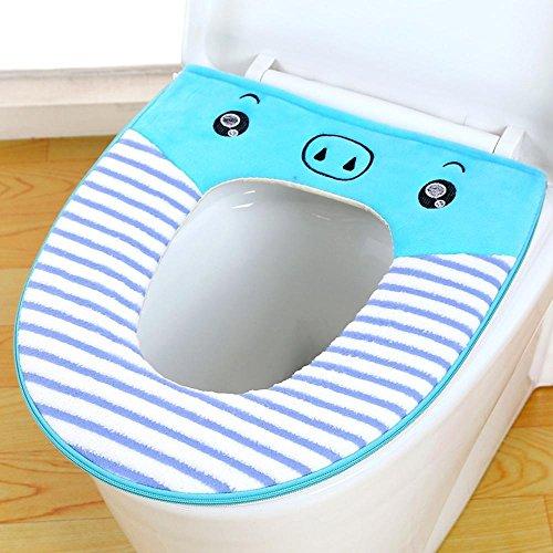 Wmshpeds inodoro elefante cremallera de la historieta vueltas cojín del asiento del inodoro impermeable 2 loaded
