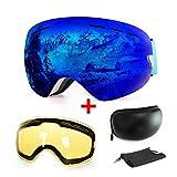 WLZP Maschera da Sci, antiappannamento, con Protezione UV, con Doppie Lenti intercambiali, Ideale per Lo Sport Invernale Come Lo Snowboard, Il Pattinaggio, Lo Sci, per Uomini e Donne