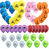 Hizoop 48 Piezas de Juego para Fiestas Globos para los niños Favores de la Fiesta de cumpleaños, Coloridos Globos de látex, 8 Colores y 8 diseños