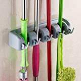 #10: Getko Wall Mounted Brush Broom and Mop Holder / Magic Holder Storage Tidy Organiser 4 Positions 5 Hooks Wall Rack