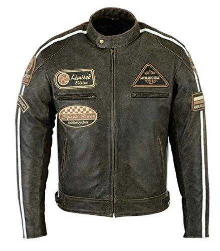 Da uomo marrone retro trapuntata vera nappa bike giacca in pelle (5x l)