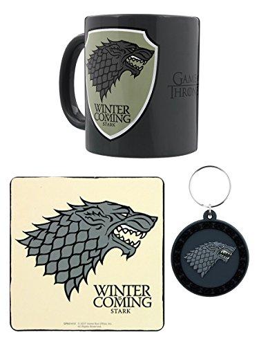 Tasse Stark Officielle Game of Thrones, Porte-clés et Coaster - Coffret