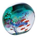 Caithness Glass Briefbeschwerer aus Glas, Motiv Ozean mit roten Fischen