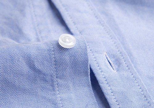 Hemd Herren Weit Kurzarm Freizeit Lässigkeit Freizeit Shirt Weiss Blau Rosa Grau M-7XL Blau