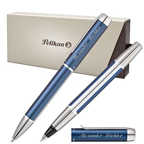 Pelikan Schreibset PURA Blau-Silber mit persönlicher Laser-Gravur Kugelschreiber und Tintenroller aus Aluminium mit Hochglanz verchromten Metallbeschlägen