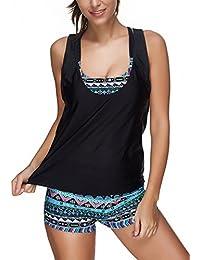 Sankill Ladies Elastic Bikini Set Séparable Sporty Maillots de bain 3 Pièces Swimwear Soft Wicking Confort Elastic Top Tankini