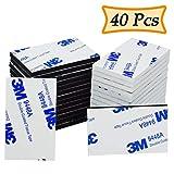 Double sided Sticky Pads, 40pz Adesivi 3m schiuma cuscinetti di montaggio rettangolare, bianco & nero
