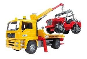 BRUDER - 02750 - Camion de dépannage MAN TGA jaune avec portique et Jeep rouge