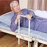 Supporto per assistenza sanitaria 2-in-1 ferroviario, ospedale domestico anziano guida di sicurezza sul lato del letto adatto singola doppia King e letto queen metallo legno maniglia di aiuto