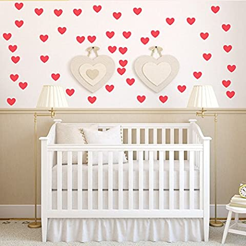Ferris Store 60pcs Red Romantic Love Hearts Shape PVC Removable Waterproof Home Living Room Wall Stickers Murals
