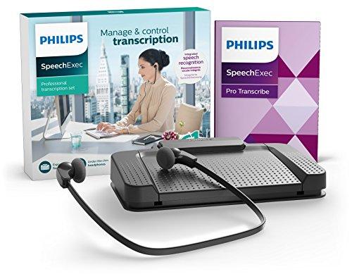 Philips LFH7277 Wiedergabe-Set für digitale Diktiersysteme von Philips, inkl. USB-Fußschalter ACC2330, Stereo-Unterkinn-Kopfhörer LFH0334, Wiedergabe-Software SpeechExec Professional 10, anthrazit mit Spracherkennung