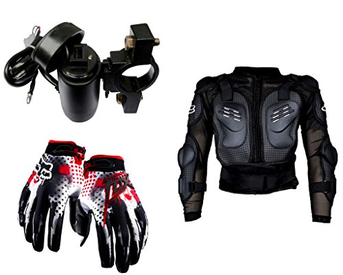 Auto Pearl Premium Quality Bike Accessories Combo of Premium Quality Bike USB Charger For Mobile/Tablet. & Fox Hand Grip Glove Black & Red 1 Pair. & Fox Riding Gear Body Armor Protective Jacket For Bike - Black -Xtra Xtra Large.  available at amazon for Rs.2204