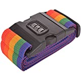 Best Deals - Travel Belt Luggage Strap - Rainbow Color Travel Safety Nylon Strength With Combination Lock.