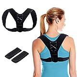 Corrección de Postura, Deportes Postura Corrector Postura Ajustable Corsé Apoyo Espinal Superior para Hombres o Mujeres Espalda, Hombros y Cuello Alivio del Dolor (Negro)