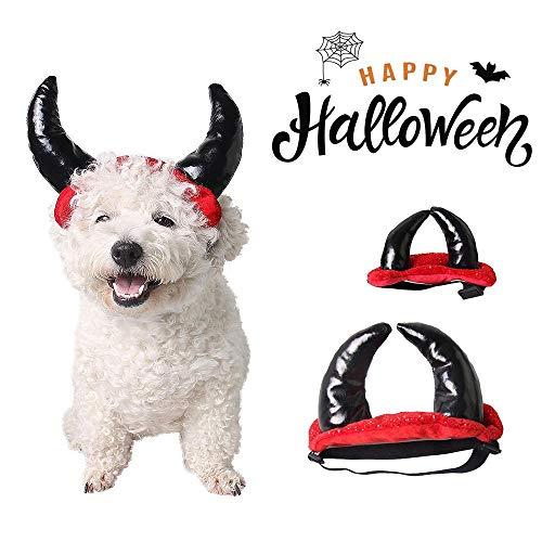 Womdee Dog Halloween Devil Horn Hat, Hund Halloween Teufel Horn Hut, lustige Haustier Kostüm Cosplay Anzug Halloween Weihnachten Kopfbedeckungen, Haustier Halloween Kostüm Hut Hund Kopfbedeckunge (Einzigartige Easy Halloween Kostüm)