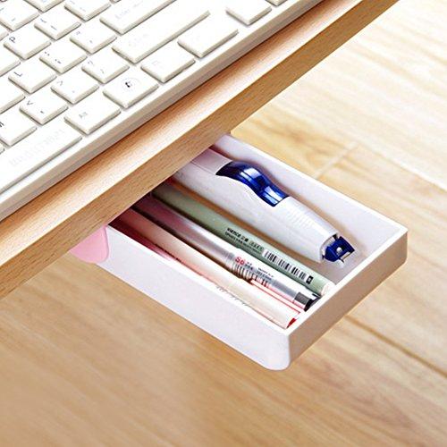 nakimo Schublade Bleistift Tablett selbstklebend Pop-Up verstecktem Desktop Organizer (Pink) (Desktop-bleistift-organizer)