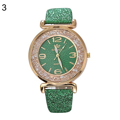 Muzhili3 Mode Frauen Quicksand Strass Pailletten Kunstleder Band Quarz-Armbanduhr Green