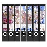 7 x Akten-Ordner Etiketten/Design Aufkleber/Rücken Sticker/Blütenpracht 2 / für schmale Ordner/selbstklebend / 3,7 cm breit
