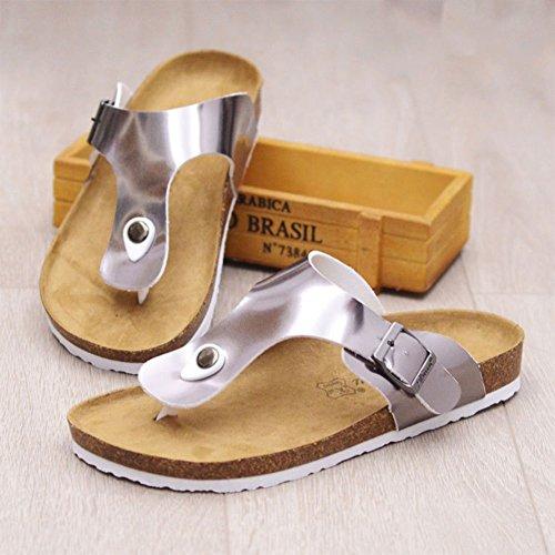 Zehentrenner Damen Sandalen, Pantoletten mit Korkfußbett Silber