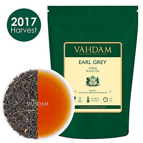 Earl Grey Tee (150+ Tassen), Blumig, Zitronig & Köstlich, (Lose Blätter) Tee, Schwarzer Tee gemischt mit Starken Bergamotte Extrakten aus Italien, 100% Reiner, Garten Frisch, Direkt aus Indien, 340g