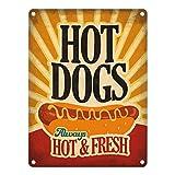 Metallschild mit American Diner Classics - Hot Dogs Motiv - ein cooles Metallschild von trendaffe - passende weitere Begriffe dazu: American Diner HotDogs Dinner USA retro Hot Dogs Vintage Fast Food Schild Blechschild Schild Dekoration oder Dekoschild.
