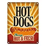 Metallschild mit American Diner Classics - Hot Dogs Motiv Aluminiumschild Blechschild Werbeschild Türschild Warnschild American Diner HotDogs Dinner USA retro Hot Dogs Vintage Fast Food Schild