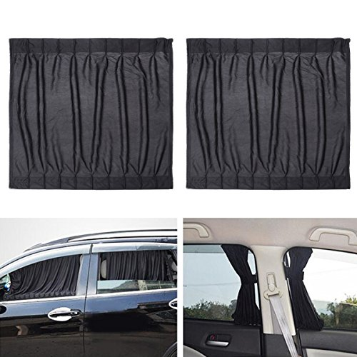 WINOMO 2STK Seitenfenster Auto Sonnenschutz Vorhänge UV Sonnenschirm Drapieren Fenster Schild (Schwarz) Test
