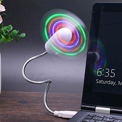 Led-message-fan (yifutang USB Mini LED Fan Message Fan mit Flexibler Schwanenhals Nachricht Programmierbare RGB LED Display Speicher Funktion Für PC Laptop Notebook Desktops, Multicolor)