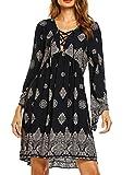Beyove Damen Bohemian Tunika Strandkleid Minikleid Vintage Strandtunika Herbst A-Linie Kleid, Dunkelblau Blumen, EU 36(Herstellergröße: S)