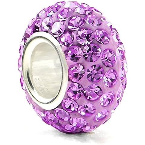 Ametista, pietra della nascita, mese: febbraio colore, in argento Sterling 925, con ciondolo in cristallo, colore: Viola - Silverado Cristallo