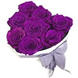 ETERNAL ROSES, konservierte Rosen XL, Violet, Herzgeschenkbox weiß
