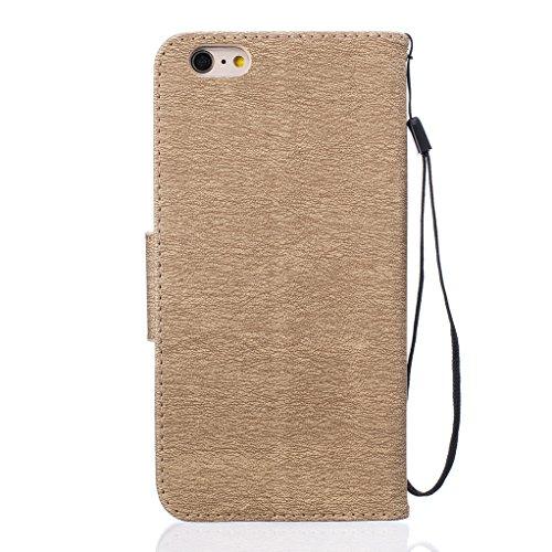 Trumpshop Smartphone Case Coque Housse Etui de Protection pour Apple iPhone 6 / iPhone 6s (4.7-Pouce) + Don't Touch My Phone (Ourson) Gris + Mode Portefeuille PU Cuir Fonction Support Or