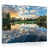 ForWall Glasbild Glasfoto Echtglas Wandbild See G5 (80cm. x 60cm.) AMFGT12011G5 See Natur Wasser Bäume Himmel