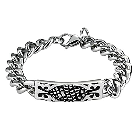 Anazoz Fashion Mens Stainless Steel Silver Black Rectangle Flower Pattern Curb Link Chain Bracelets