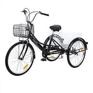 """51uoKFNqwzL. SS300 Yonntech Tricicli Adulti 24"""" 7 velocità Bicicletta 3 Ruote Adulti Bici da Uomo, Donna con Cestino di acquisto"""