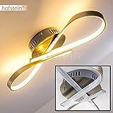 LED-Deckenlampe in Schleifenform - Moderne Leuchte im geschwungenen Design - Wohnzimmerlampe in einer warmweißen Lichtfarbe - Futuristische Designerleuchte aus Metall mit weißem Lampenschirm