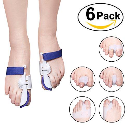 Foonii 6 pezzi tutore per alluce valgo correttore correttivo separatore silicone, camminare-estensori dita-set manicotto sollievo alluce valgo- per dolore piede, avampiede, metatarsale & altro