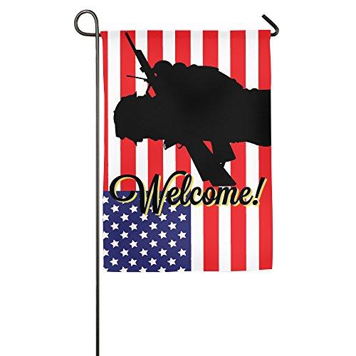 Seganrt Soldier Black Shadow Stecker Man American Flagge Rot und Weiß Kreuz Garten Flagge Demonstration Parade Flagge Familie Party Flagge Match Flagge Garten Flagge Pole Welcome, Weiß, 18 * 27inch