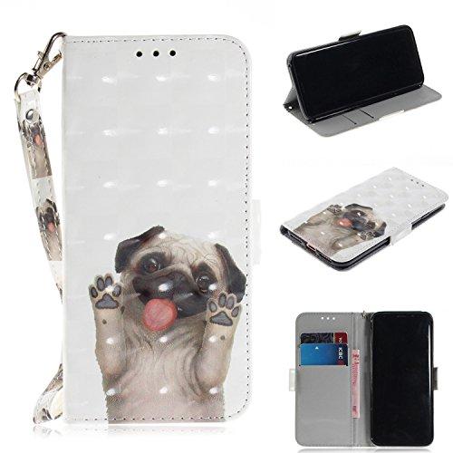 Huphant Compatible for Samsung S8 Hülle, Samsung Galaxy S8 Handy Hülle Schwarz Schutzhülle Silikon Wallet Case für Samsung Galaxy S8 tasche Kartenfächer Magnet Cover -Mops