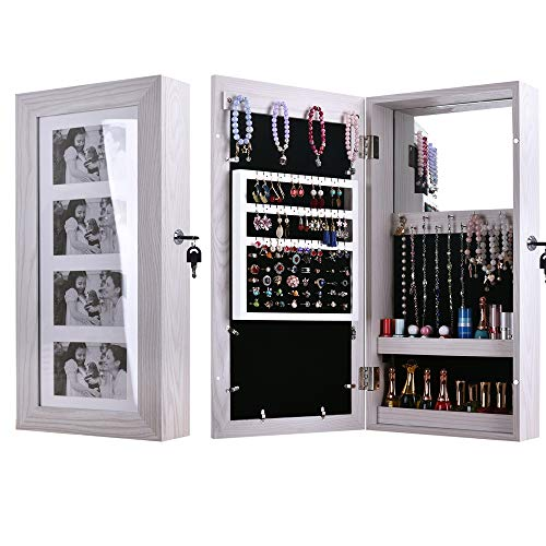 Holz Schmuck Vitrine (HFJ&YIE&H Bilderrahmen Schmuck Schrank An der Wand montiert Kabinett,4 Bild Vitrine,PVC-Holz Feuchtigkeitsbeständig Spiegelschrank Schmuck Veranstalter Box-Make-up Kosmetik-Veranstalter)
