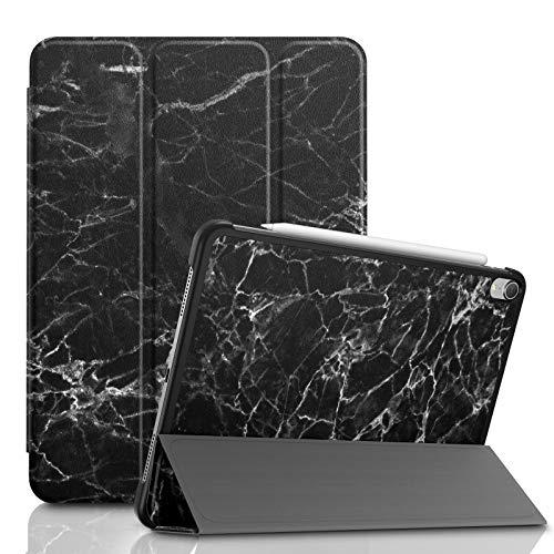 Infiland iPad Pro 11 Zoll 2018 Hülle Case, Slim Shell dünne Schutzhülle Cover Tasche für iPad Pro 11 Zoll 2018 (mit Auto Schlaf/Wach Funktion,Unterstützt Das Aufladen des Apple Pencil),Schwarz Marmor