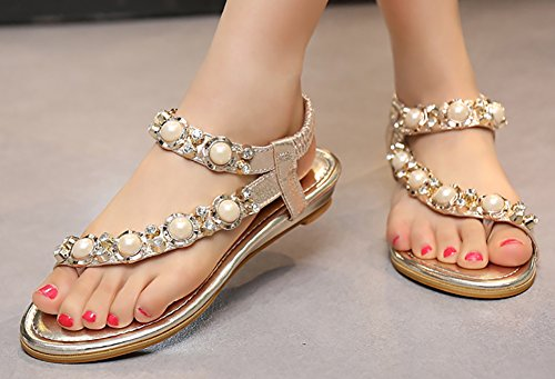 Odema Femme Sandales Plat Clip-orteil Bride Cheville Perles Strass Or