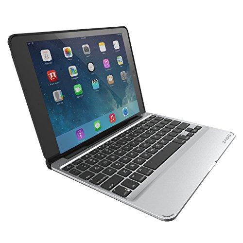 ZAGG Slim Book für iPad Air 2, Ultraschlanke Bluetooth Tastatur mit abnehmbare Hülle und hintergrundbeleuchteten Tasten - schwarz (Deutsches Tastaturlayout)