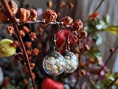 Boucles d'oreilles en verre - Fleurs naturelles séchées de Gypsophile - 16mm - Idée Cadeau femme pour anniversaire