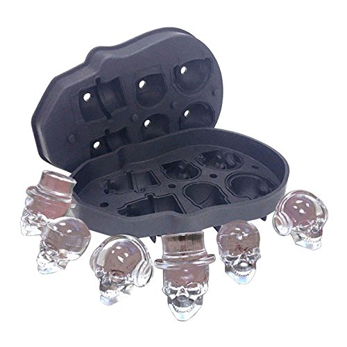 AOLVO Tragbare Eiswürfelformen, 3D Totenkopf mit lebensmittelechtem Silikon mit 6Skulls, runde Eiswürfel Form für Whiskey Wein Cocktails und, Schwarz